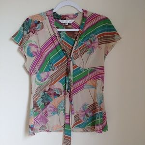Trina Turk Floral Striped Multicolor Silk Blouse